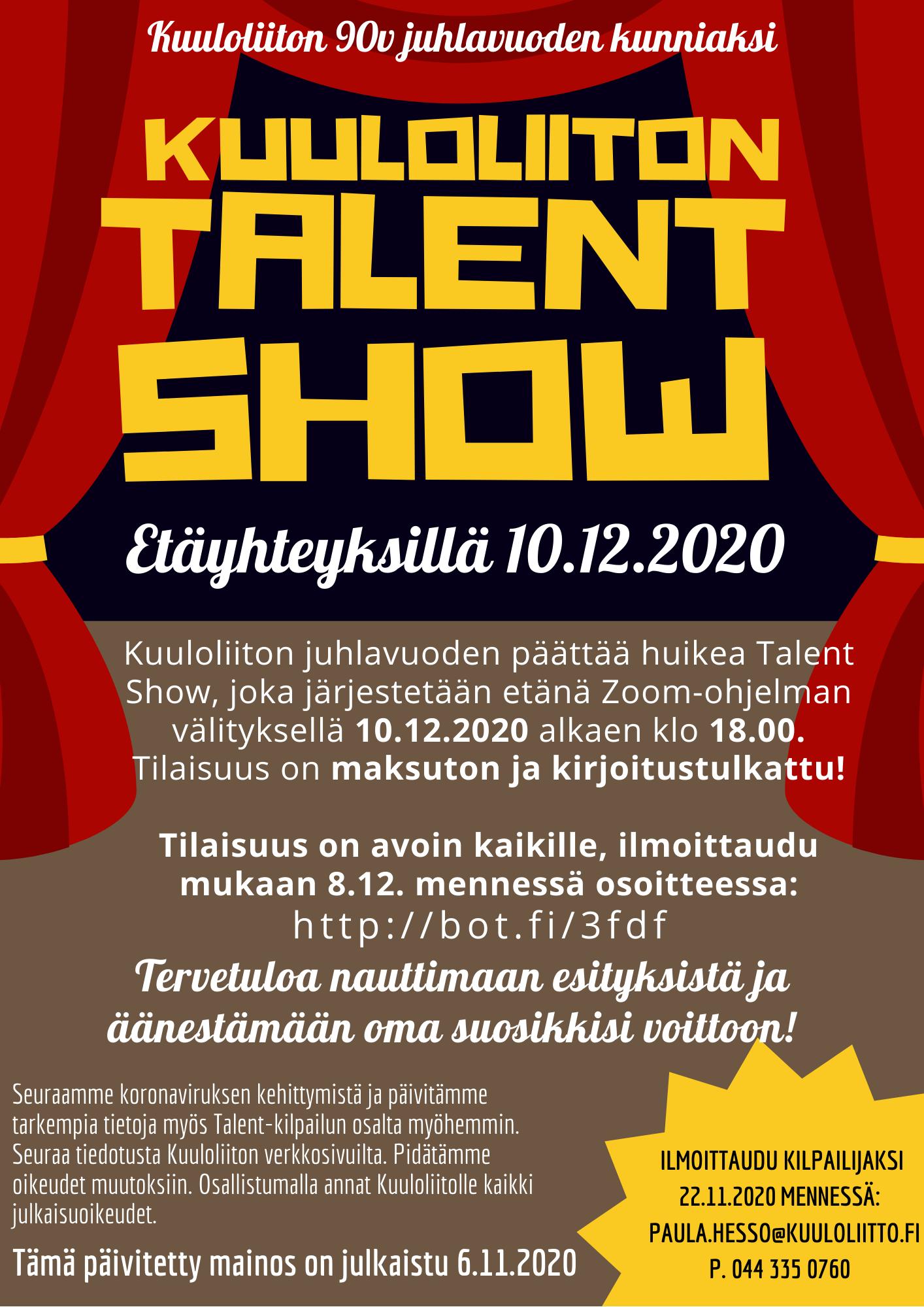 Talent show etäyhteyksin 10.12.