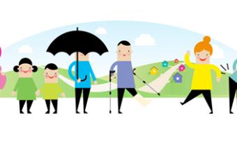 Piirroksessa ryhmä erilaisia ihmisiä: odottava äiti, lapsia, mies sateenvarjon kanssa, kepeillä kävelevä mies, keski-ikäinen nainen ja selkäkipuinen mies.