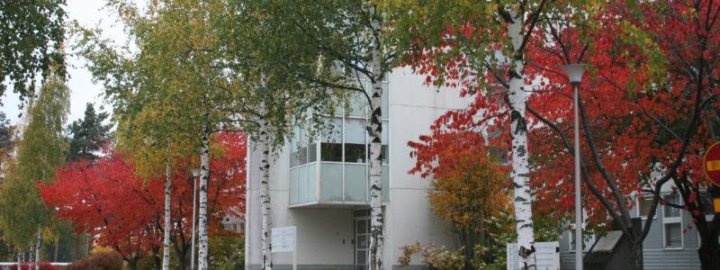 Valkea talo syksyllä.